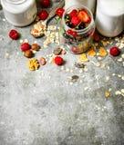 棒谷物节食健身 Muesli用莓果、坚果和牛奶在瓶 库存照片