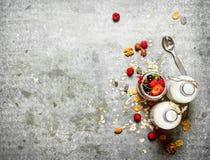 棒谷物节食健身 Muesli用莓果、坚果和牛奶在瓶 免版税图库摄影
