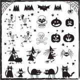 棒黑色设计要素眼睛严重万圣节包括插孔灯笼o南瓜塔兰图拉毒蛛巫婆 库存图片