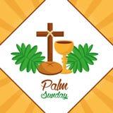 棕枝全日十字架面包杯子叶状体海报 库存照片