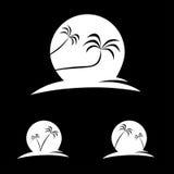 棕榈剪影有后边月亮的 免版税库存图片