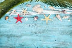 棕榈叶、绳索、贝壳和海星在蓝色木台式视图在舱内甲板放置样式 暑假、旅行和假期 库存图片
