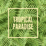 棕榈叶热带背景  无缝的热带叶子背景 水彩模仿 不是油漆踪影 库存例证