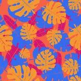 棕榈叶的传染媒介无缝的霓虹样式 库存例证