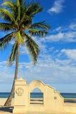 棕榈和曲拱在海滩 免版税库存照片