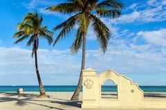 棕榈和曲拱在海滩 库存图片