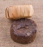 棕榈在黄麻袋VI的树汁糖 免版税库存图片