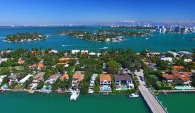 棕榈岛,迈阿密-佛罗里达全景鸟瞰图  图库摄影