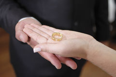 棕榈打开与婚戒 免版税库存图片