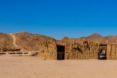 棕榈枝杈流浪的大厦在离洪加达市,埃及不远的一片沙漠 免版税库存图片