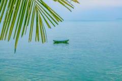 棕榈树分支和一条小船在海 免版税库存照片