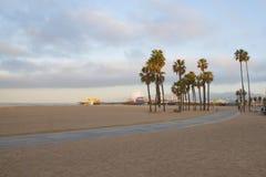 棕榈树和圣塔蒙尼卡码头在太平洋海岸 免版税库存照片