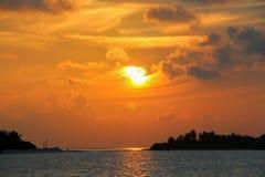 棕榈树和惊人的多云天空黑暗的剪影在日落在热带海岛在马尔代夫海岛 库存图片