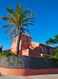 棕榈树和红色房子 免版税库存图片