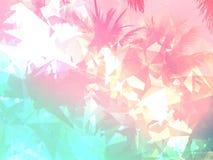 棕榈树桃红色和蓝色淡色几何背景例证 库存照片