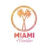 棕榈树象 迈阿密佛罗里达设计 背景装饰图象风格化漩涡向量挥动 皇族释放例证