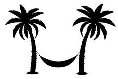 棕榈树黑色概述剪影股票传染媒介例证 库存图片