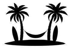 棕榈树黑色概述剪影股票传染媒介例证 库存照片