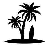 棕榈树黑色概述剪影股票传染媒介例证 免版税库存照片