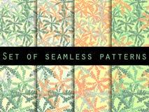 棕榈树,棕榈树叶子  仿造无缝的集 墙纸的,床单,瓦片,织品,背景样式 图库摄影