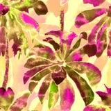 棕榈样式 异乎寻常的水彩无缝的样式 库存图片