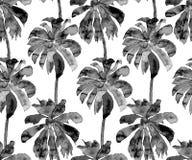棕榈样式 异乎寻常的水彩无缝的样式 库存照片