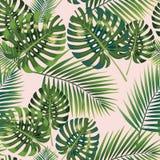 棕榈热带叶子无缝的样式 也corel凹道例证向量 免版税图库摄影