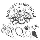 棕榈窃贼螃蟹的单色例证 免版税库存图片