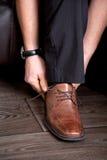 棕色企业鞋子 免版税库存照片