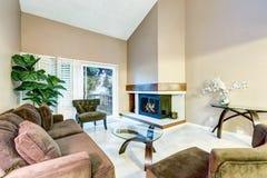 棕色口气的家庭娱乐室与高拱顶式顶棚 库存图片