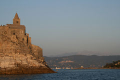 棕色城堡cinque terre 库存照片