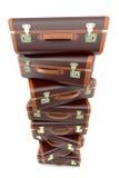 棕色堆手提箱葡萄酒 免版税库存图片
