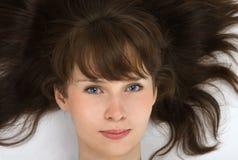 棕色头发妇女 免版税库存图片