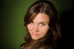 棕色头发长的妇女 免版税图库摄影