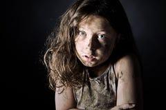 棕色害怕的儿童污浊头发 库存图片