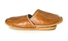 棕色房子查出在空白的拖鞋 图库摄影