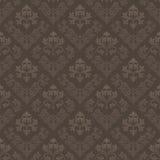 棕色无缝的葡萄酒墙纸 免版税库存照片