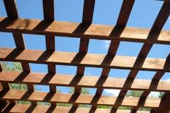 棕色木荫径上面在晴朗的夏日侧视图的 图库摄影