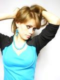 棕色毛发的妇女 免版税库存照片
