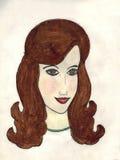 棕色毛发的妇女 免版税库存图片