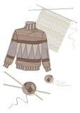 棕色毛线衣温暖的羊毛 库存照片