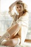 棕色毛线衣的年轻亭亭玉立的性感的妇女反对窗口 库存照片