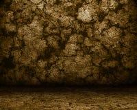 棕色洞楼层石墙 免版税库存图片