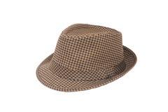 棕色浅顶软呢帽帽子 库存照片