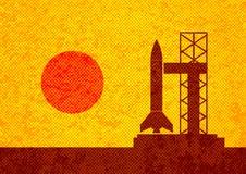 棕色火箭剪影 皇族释放例证