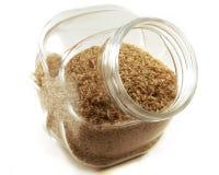 棕色瓶子米 免版税图库摄影