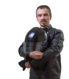 棕色皮夹克的成人摩托车骑士。 免版税库存照片