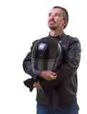 棕色皮夹克的成人摩托车骑士。 免版税库存图片
