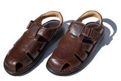 棕色皮革凉鞋 库存照片
