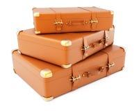 棕色皮革手提箱堆  免版税库存图片